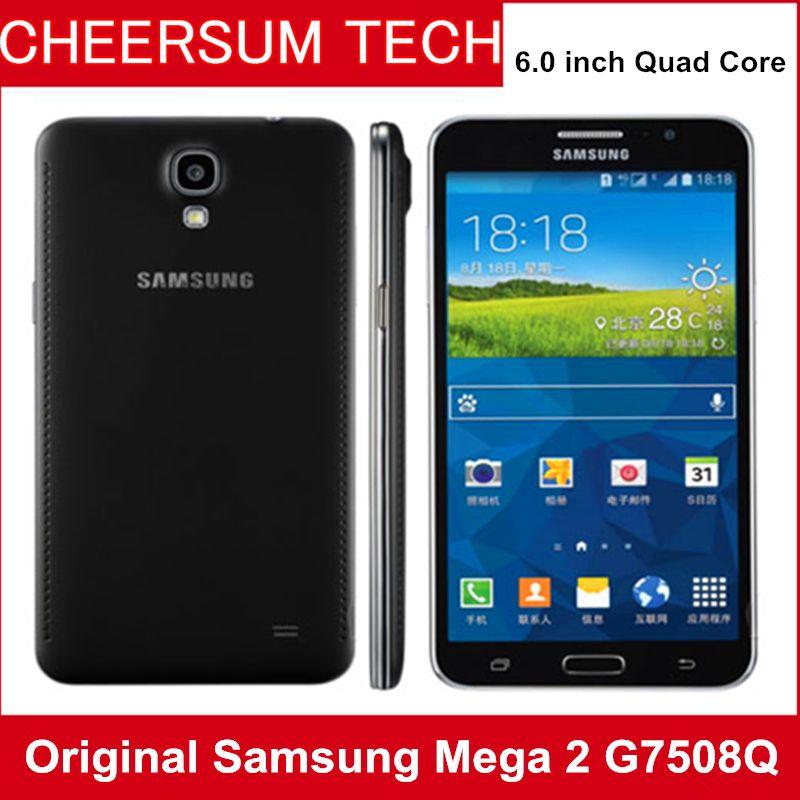 الأصل تجديد سامسونج GALAXY ميجا 2 G7508Q RAM رباعية النواة 1.5GB ROM 8GB 6 بوصة HD الشاشة 8MP / 2.1MP مقفلة الهواتف الذكية