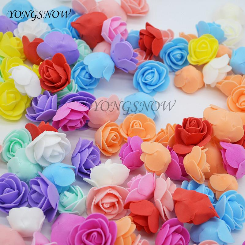50pcs Artificial Foam Rose Flower Heads DIY Wedding Bouquets Home Decor 3.5cm