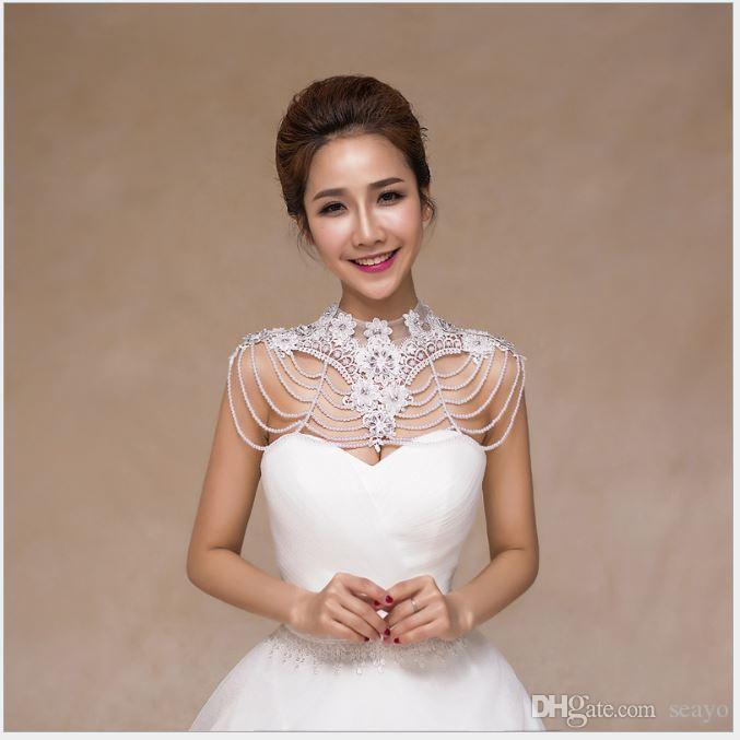 Cadeia de ombro novo da noiva, ornamento de ombro coreano, colar de vestido de noiva branco com uma palavra de rendas de ombro e xale de pérola.