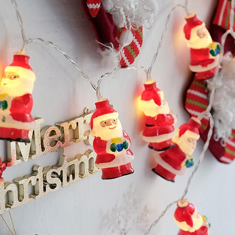 Pil Işığı Noel Işık Hattı LED Santa Dize Işık Mağaza Düzenleme Fener Açık Dekor Yılbaşı Ağacı Süslemeleri