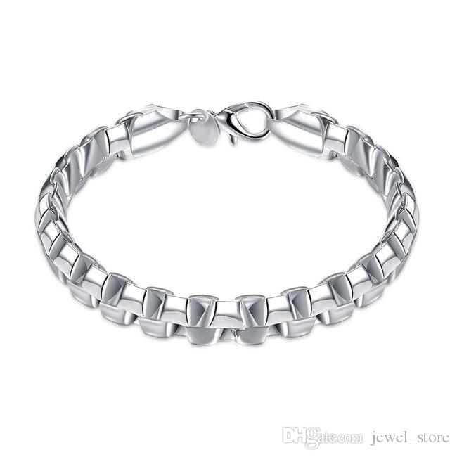 High quality!Double box hand chain- 925 silver bracelet JSPB137,Beast gift men and women sterling silver plated Chain link bracelets