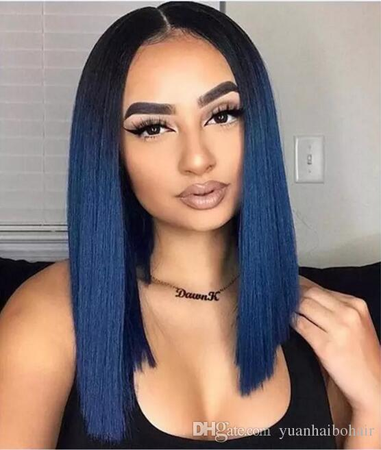Short Bob Wig Full Lace Wigs Brazilian Virgin Remy Real Human Hair Blue Hair Wig Lace Front Long Bob Glueless Wig for Woman