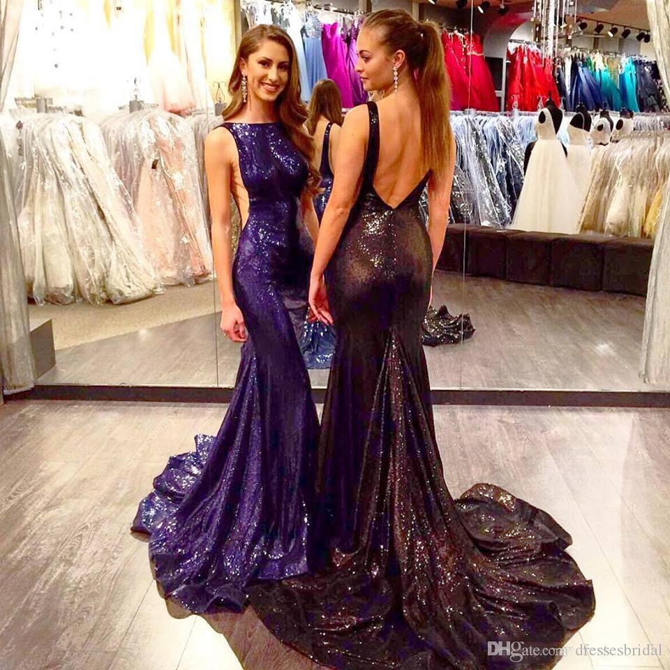 Elegant Evening Formal Dresses 2018 Mermaid Navy Blue Sequined Backless Long Train Formal Party Prom Gowns Bling Stars Red Carpet Celebrity