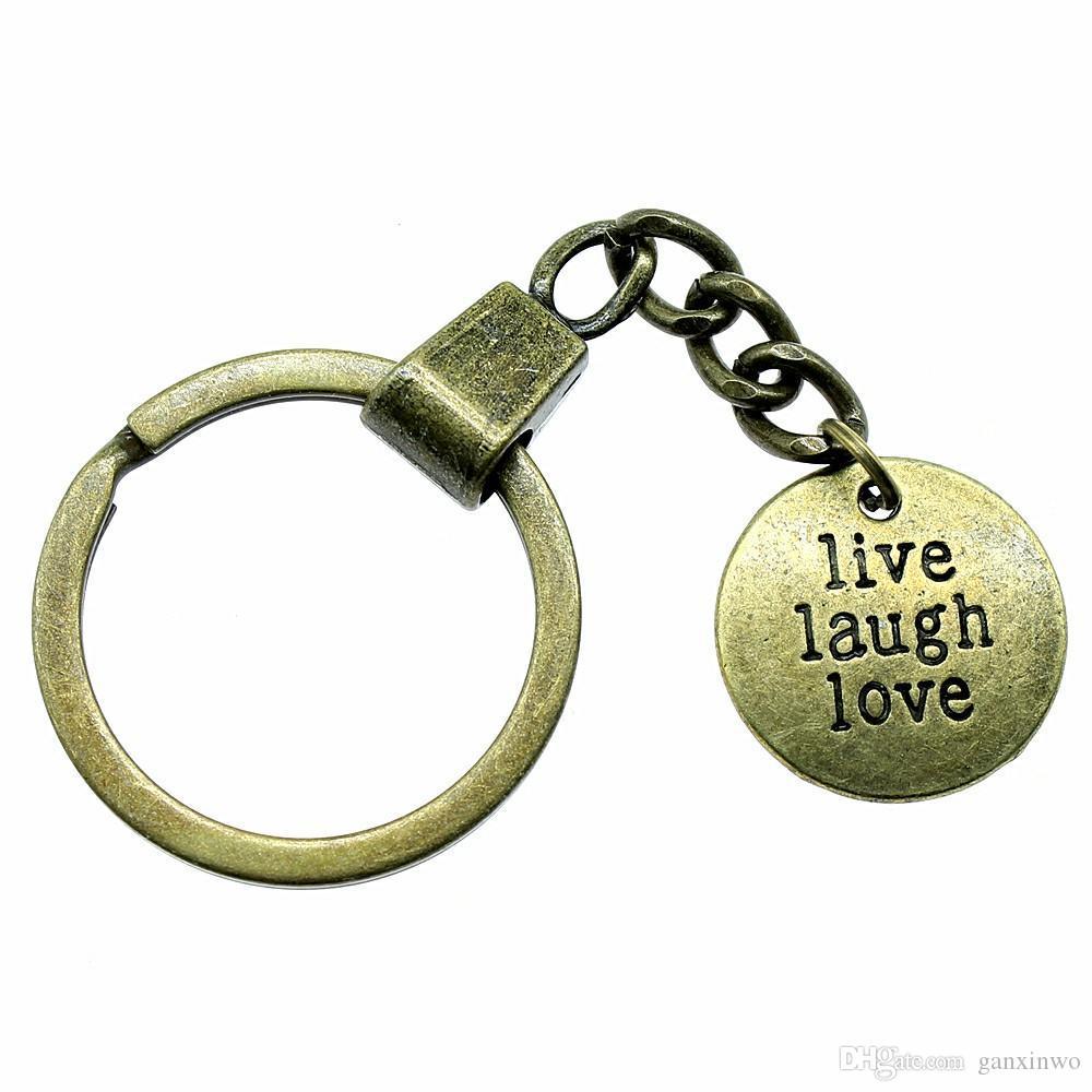 6 Pièces porte-clés femmes Porte-clés Porte-clés pour voiture avec Charms en direct d'amour de rire de 20 mm