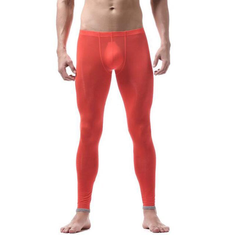 Pants Men Sexy Transparent Sheer Gay underwear Fashion tight legging long Johns See through ice silk underpants sleep bole
