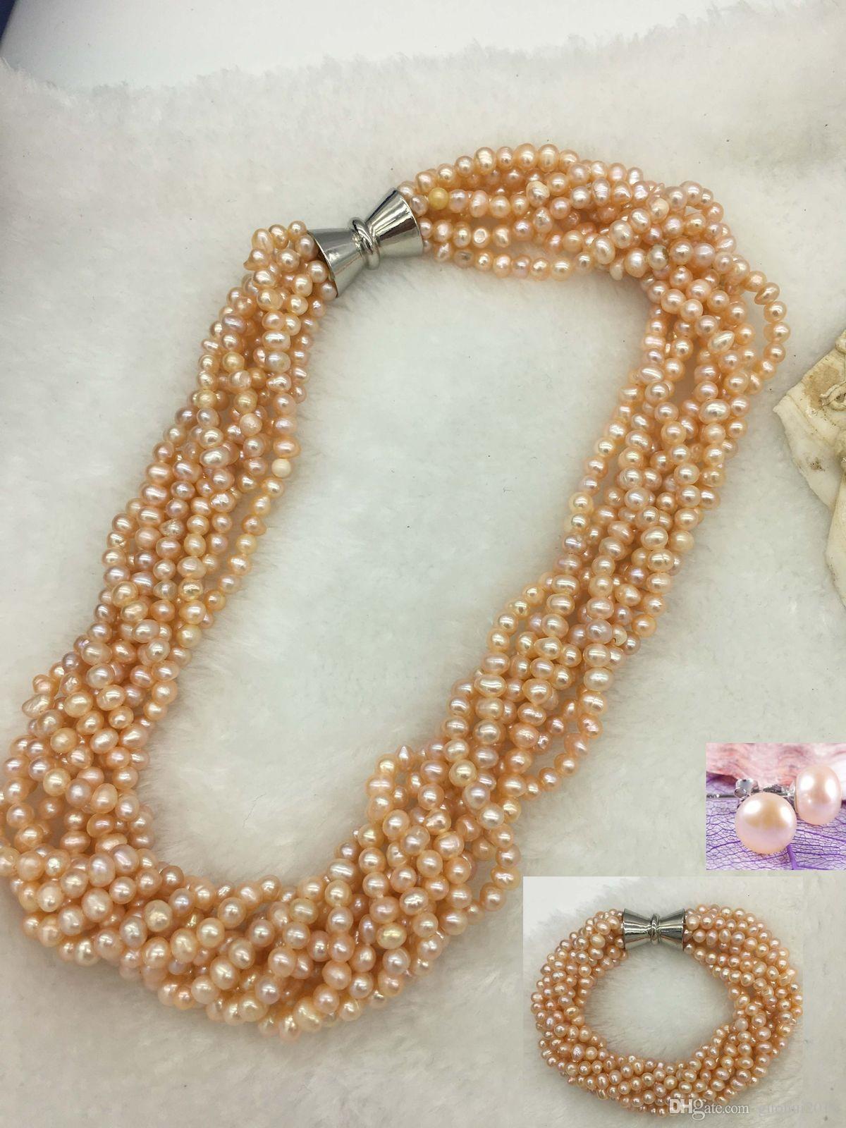 2 Strand Light Pink Glass Pearl NecklaceBraceletEarrings Set