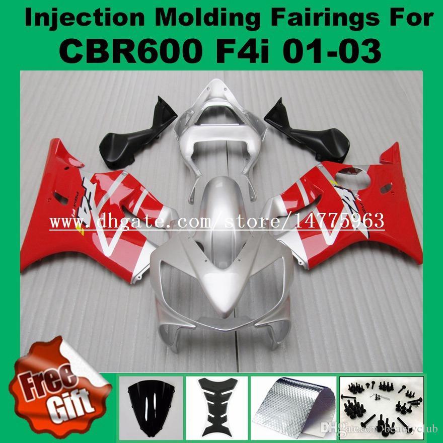 Красный серебро обтекатели впрыска для Хонда CBR600F4i CBR600RR F4i 01 02 03 ЦБ РФ 600 F4i и CBR 600F4i 2001 2002 2003 обтекатель комплект #551L0