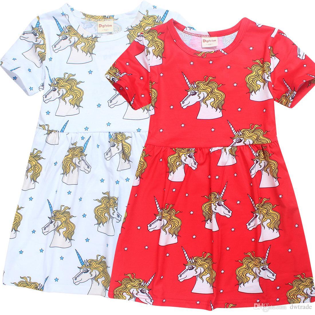 اعتصامات جديدة الفتيات السحرية يونيكورن نمط الطباعة الكامل الصيف قميص اللباس القطن الناعمة اللباس للمراهقات الكرتون القطن اللباس 4-10 طن