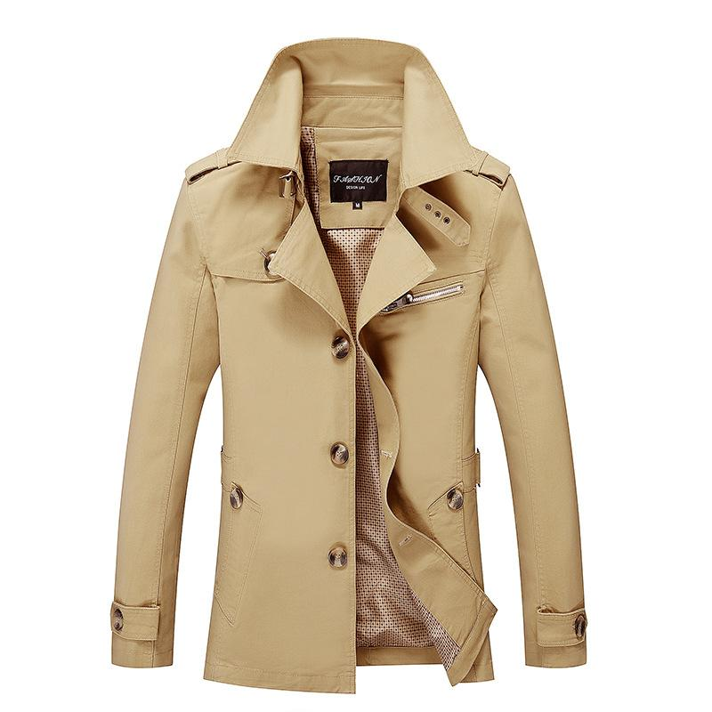 Titmsny Yeni erkek Palto Moda Sonbahar Rahat Siper Saf Renk erkek Turn-aşağı Yaka Slim Fit Ceket Artı Boyutu M-5XL