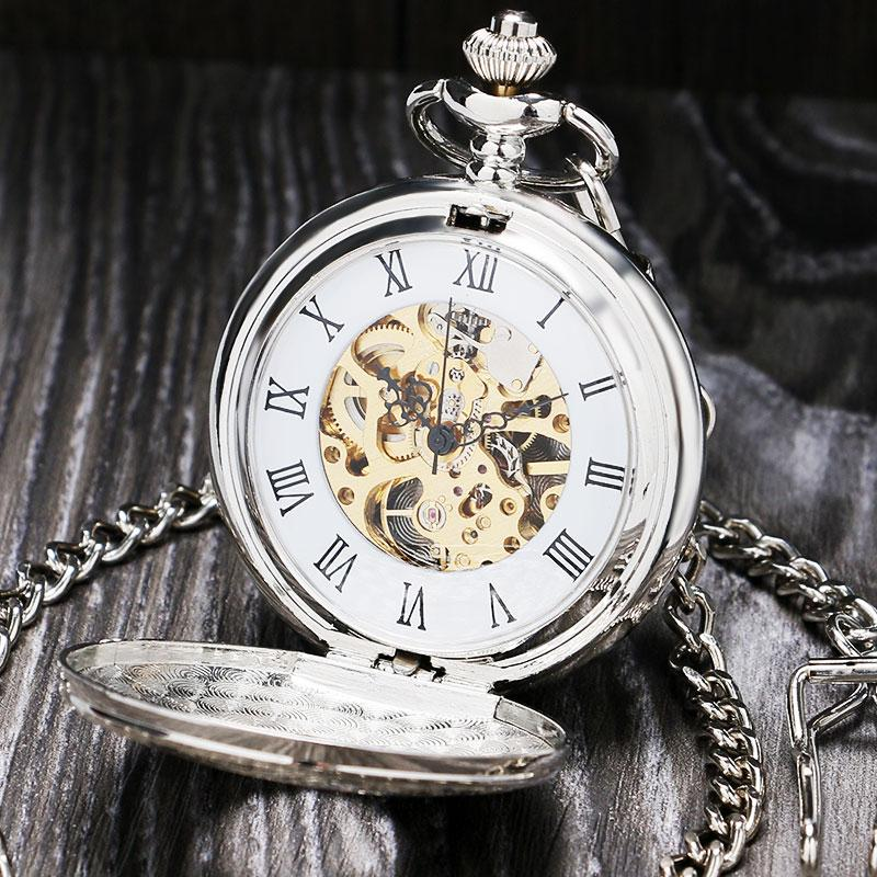 Vintage Silver Roman Number Mechanical Pocket Watch Double Open case fob watch P803C