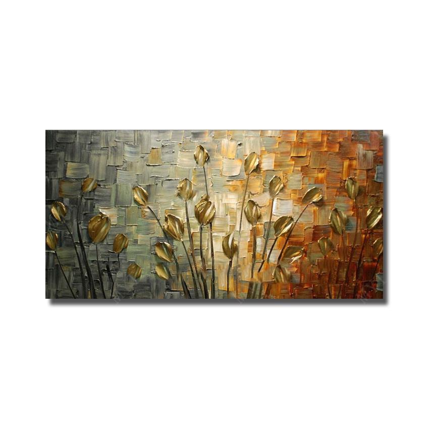 Envío gratis textura hecha a mano pintura al óleo abstracta enorme arte de la lona moderna pinturas decorativas de la flor del cuchillo para la decoración de la pared