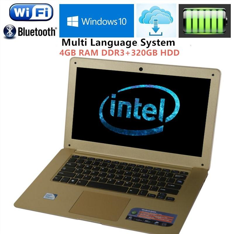 14.1 Inch Ultrathin Laptop Intel Celeron J1900 Quad Core 4G DDR3 320G HDD Wifi HDMI 1.3M HD Webcam Window 7/10 Notebook Computer