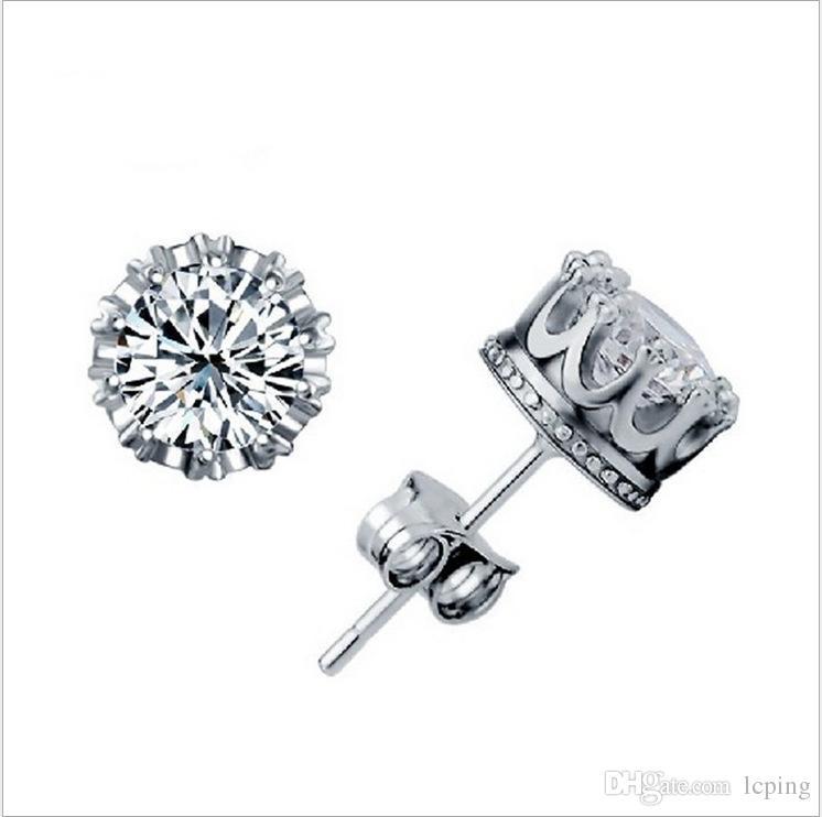 hot sale Jewelry Stud Earrings 925 Sterling Sliver Crown earrings Prata 8MM Round 2 Carat Cubic Zirconia Silver/Gold LOWAY Zircon earrings