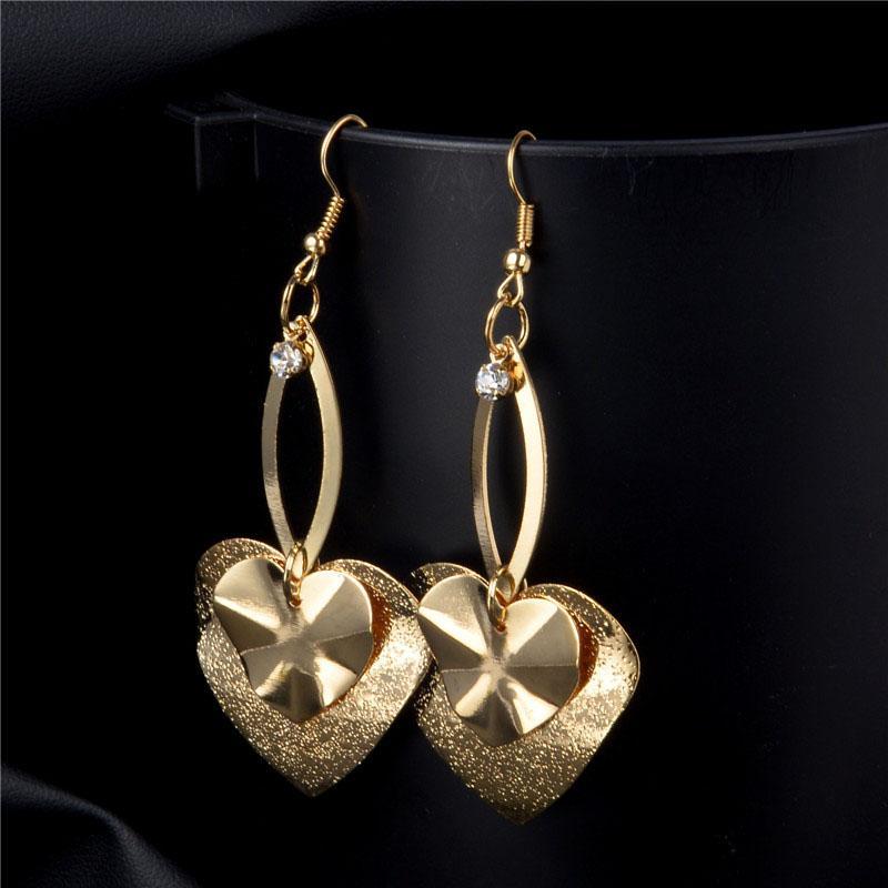 Nova Cor de Ouro Coração Pingente Longo Brincos Dangle Brincos 2 Cores Brincos Para Mulheres Acessórios