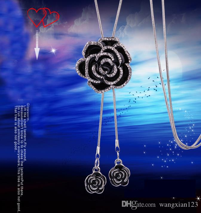 2018 coreano largo suéter cadena Colar Maxi collar simulado perla flores collar flores
