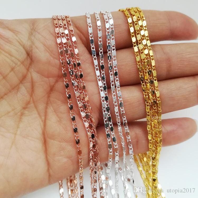 2MM Cute 18k Gold Plated Flat Chain Necklace Diy Jewelry Accessories for Women 18 inches 24 inches