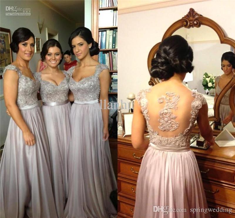 Billig Sexy Silver Prom Dresses Brautjungfernkleider Spitze Appliques Pailletten Perlen Kappe Ärmeln V-ausschnitt Chiffon Party Abendkleider CPS233