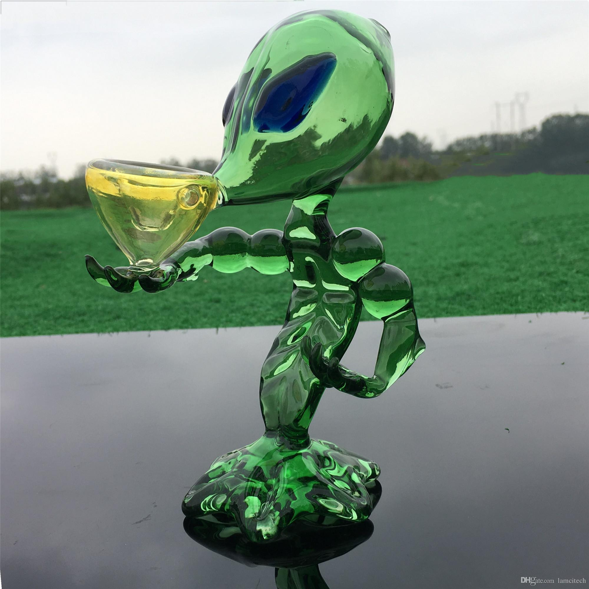 6.3 '' pulgadas verde ET fumar pipa de agua de Hookah Glass Alien práctico vidrio de tabaco Bong botella de agua del filtro de aceite tuberías de la plataforma