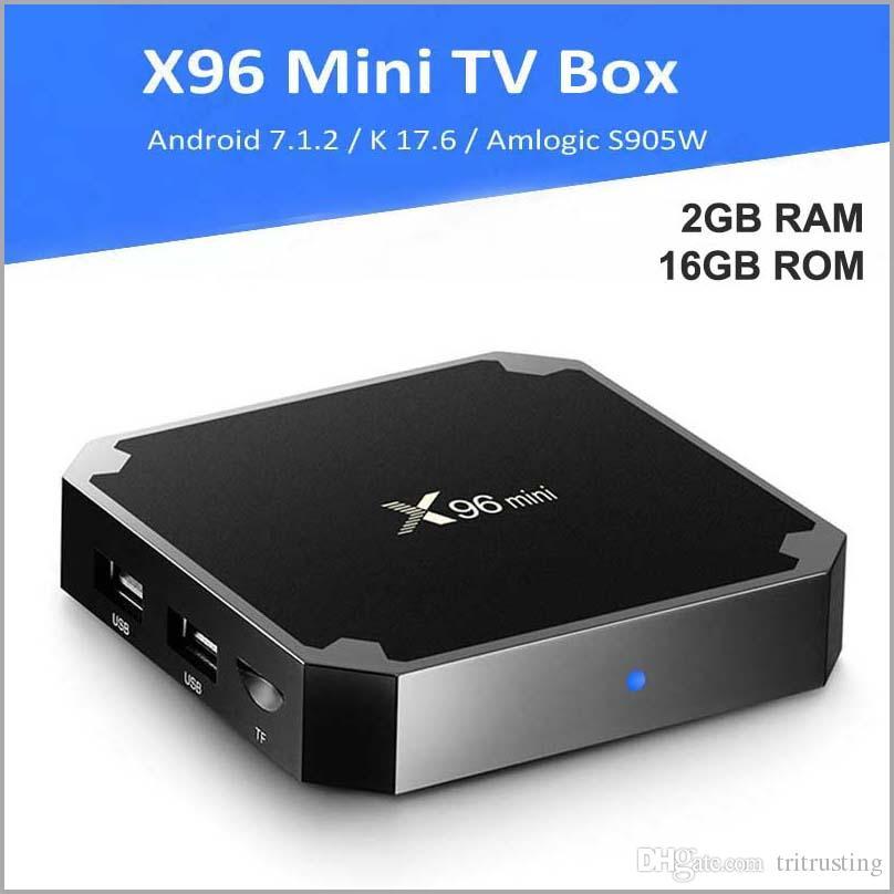 X96 Mini Android 7.1 Amlogic S905W STB tv box 2GB RAM 16GB ROM 2+16 eMMC Flash player 17.6 4K Smart Android TV Box MQ50