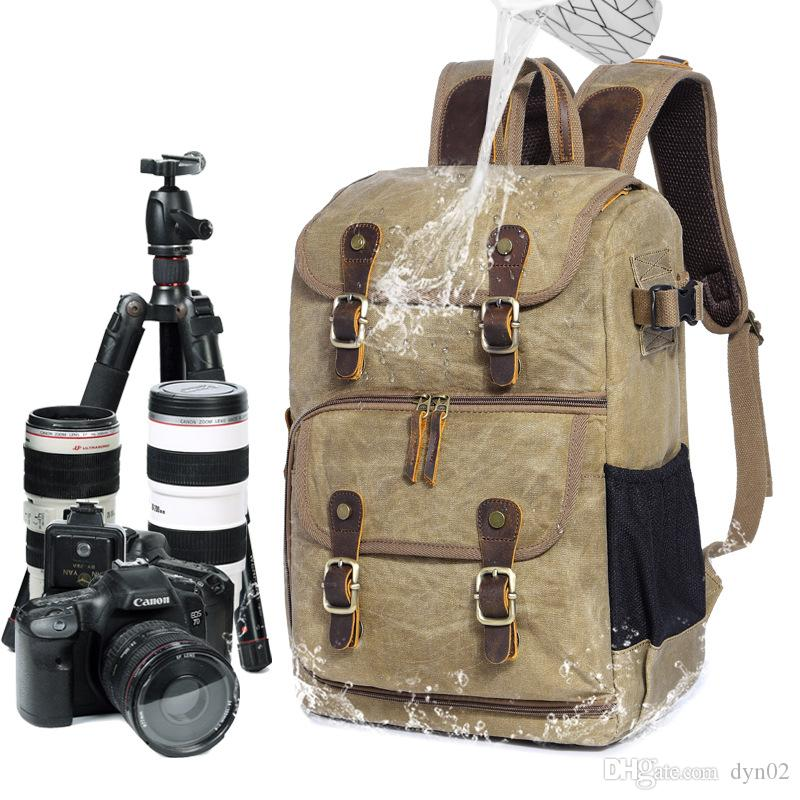 2018 Новая сумка для фотокамеры SLR плеча камеры рюкзак водонепроницаемый большой емкости Waxdye холст рюкзак уличная сумка