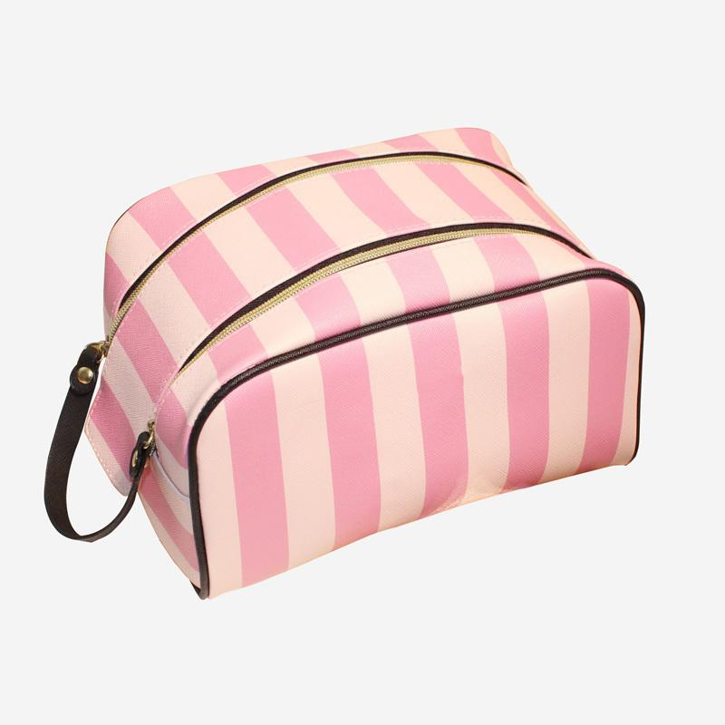Girl PU Leather Stripe Cosmetic Bag For Make Up Travel Cosmetic Bag Women Waterproof Makeup Bags For Women Zipper Cosmetiqueras