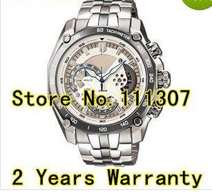 Al por mayor-EF-550D-7AV de los nuevos hombres reloj deportivo de línea blanca EF-550D 550D EF blanca Reloj Dial Con la función del cronómetro 1/20 Péndulo