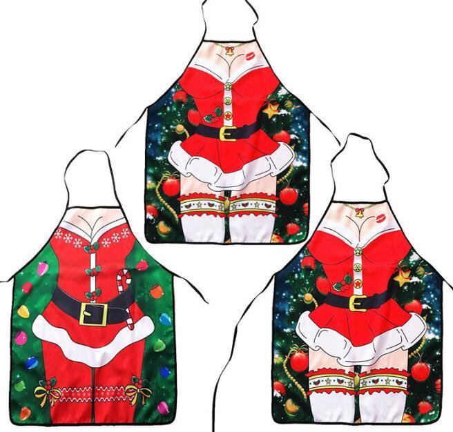 성인용 크리스마스 앞치마 저녁 파티 요리 앞치마 숙녀 남자 섹시한 앞치마 주방 보조 용품 신년 용품