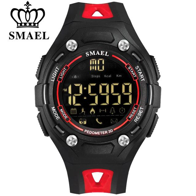 SMAEL Bluetooth Smart Watch Man's Sport Pedometer Wristwatch Fashion Waterproof LED Men's Clock Wearable Devices For ios Android Phone