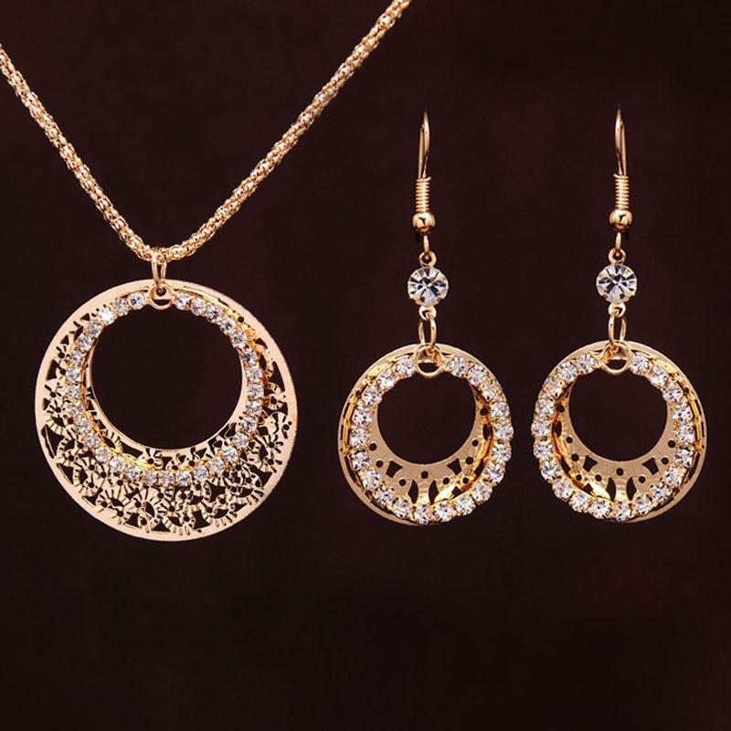 Свадебные ювелирные наборы круглая форма ювелирные изделия элегантный обручальные серьги кулон ожерелье женщина аксессуары