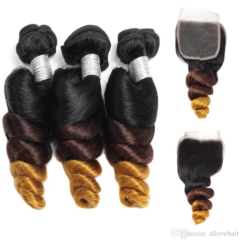 3 Bundles Avec Fermeture Péruvienne Lâche Vague Cheveux T1b / 4/27 Malaisienne Trame De Cheveux Vierges Ombre Indien Cheveux Humains Brésiliens Lâche Bouclés Extensions