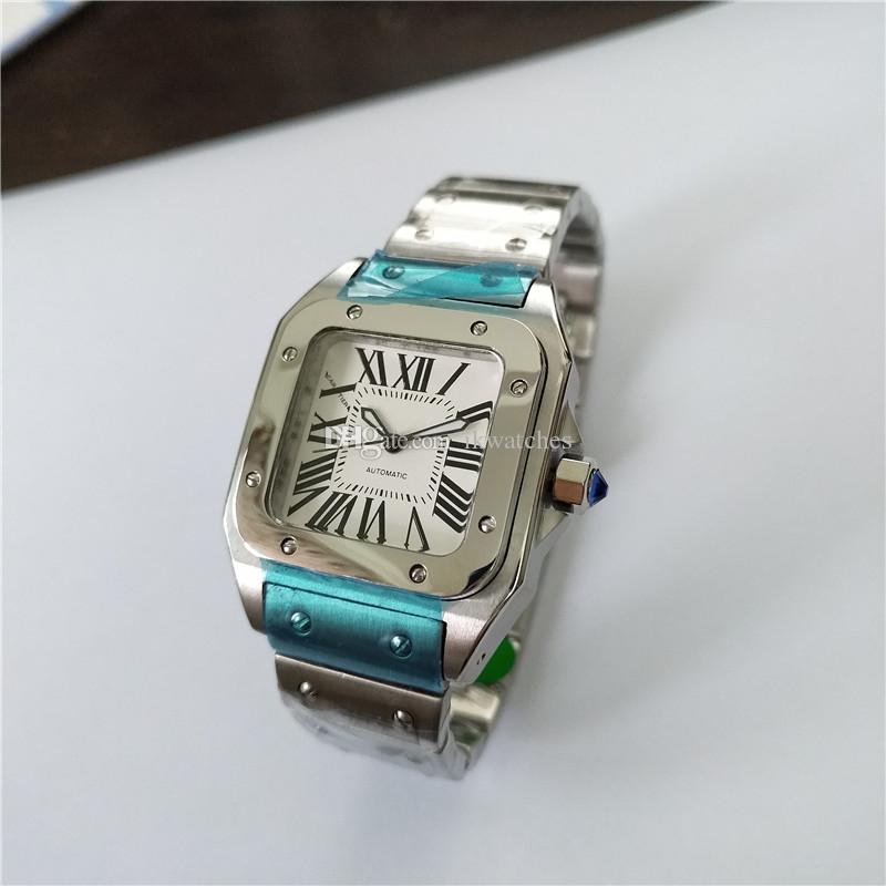 Orologio da uomo Orologio in acciaio inox Uomo orologio automatico orologio in acciaio orologio da polso bianco volto 02