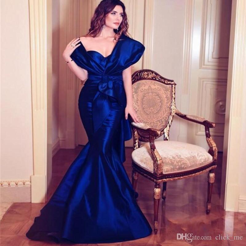 Kraliyet Mavi Mermaid Gelinlik Modelleri Cap Kollu Pleats Saten zarif akşam resmi elbiseler 2018-2019 Kat Uzunluk Custom made Kadınlar Parti Elbise