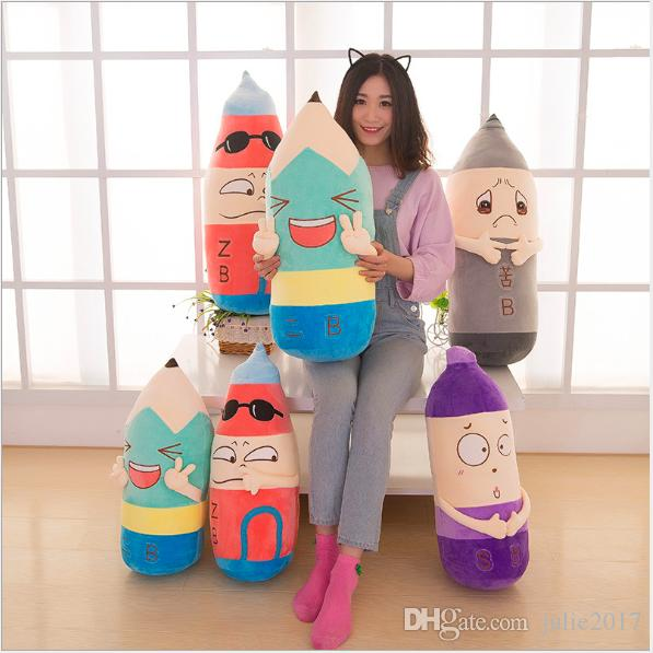 4 Styles Cartoon 2B Pencil Cushion Pillow Stuffed Plush Toys Soft Pencil Doll Grown-up Present Sofa Bed Decoration