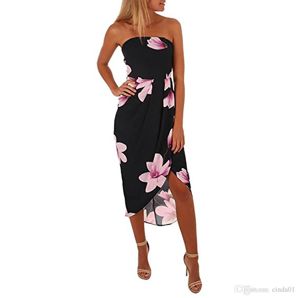 Mulheres Sexy Roupas de Verão Casual Floral Impresso Chiffon Vestidos Femininos Sem Alças Sem Encosto Mini Dressess Frete Grátis