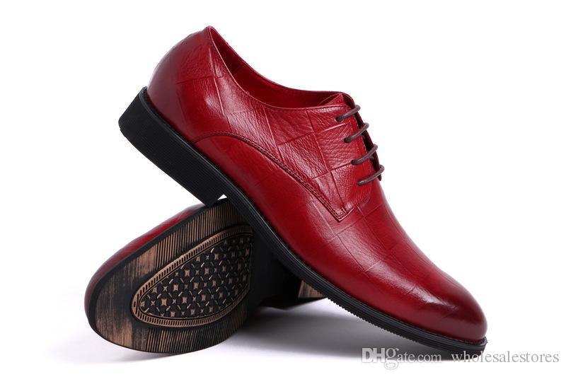 2018 hommes chaussures oxford rouge jaune noir bout pointu en cuir véritable Oxford mariage robe de mariée chaussures Oxfords