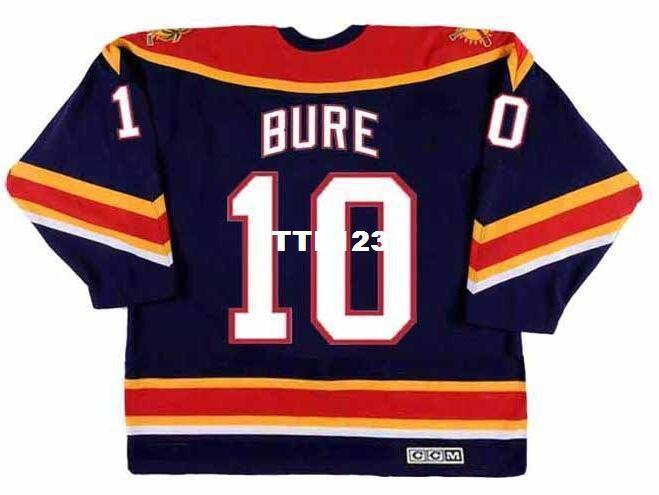 Hommes véritables broderies complètes # 10 PAVEL BURE maillot de hockey 1999 CCM Vintage Panthers de la Floride ou personnalisé, sous quelque nom ou numéro que