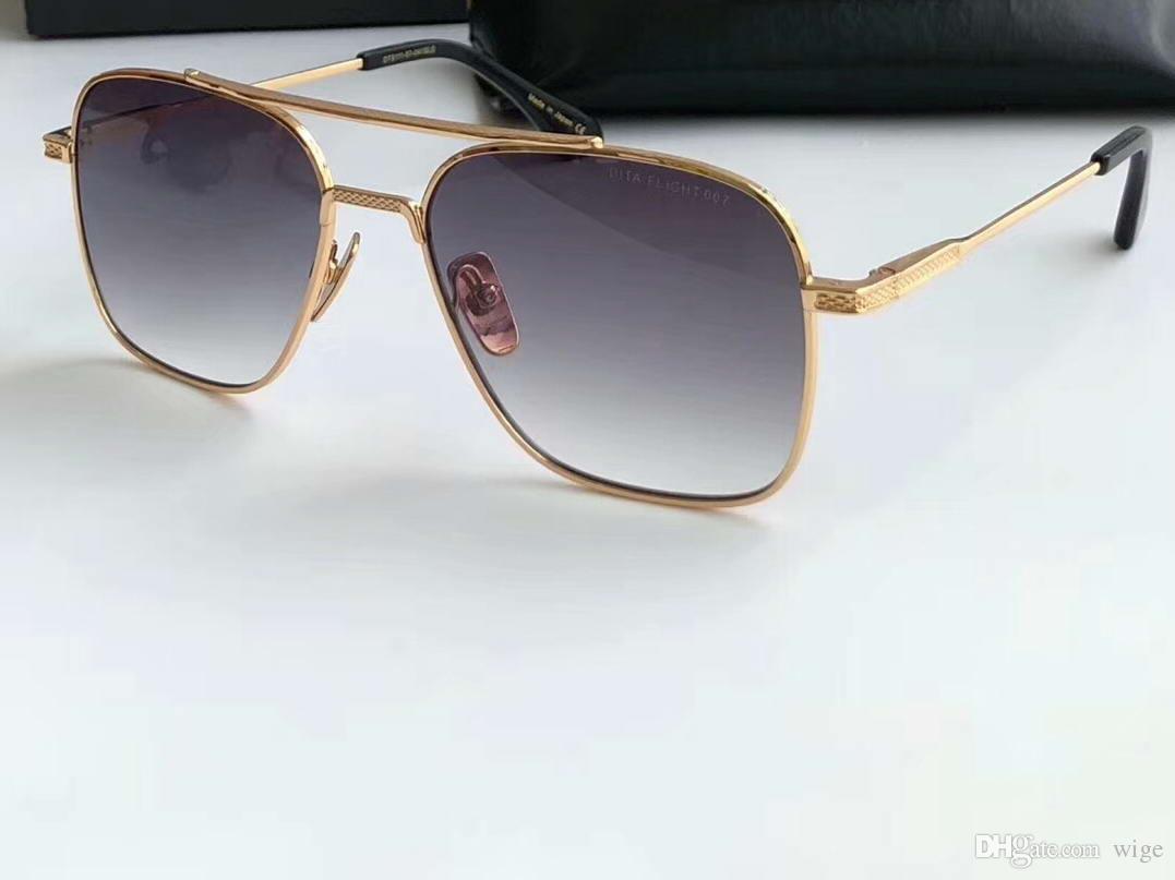 Óculos Novo R Quadrado Piloto de Ouro / Cinza Som Gafas Sol Sol Mens Óculos De Sol Óculos De Tons Design Kbori