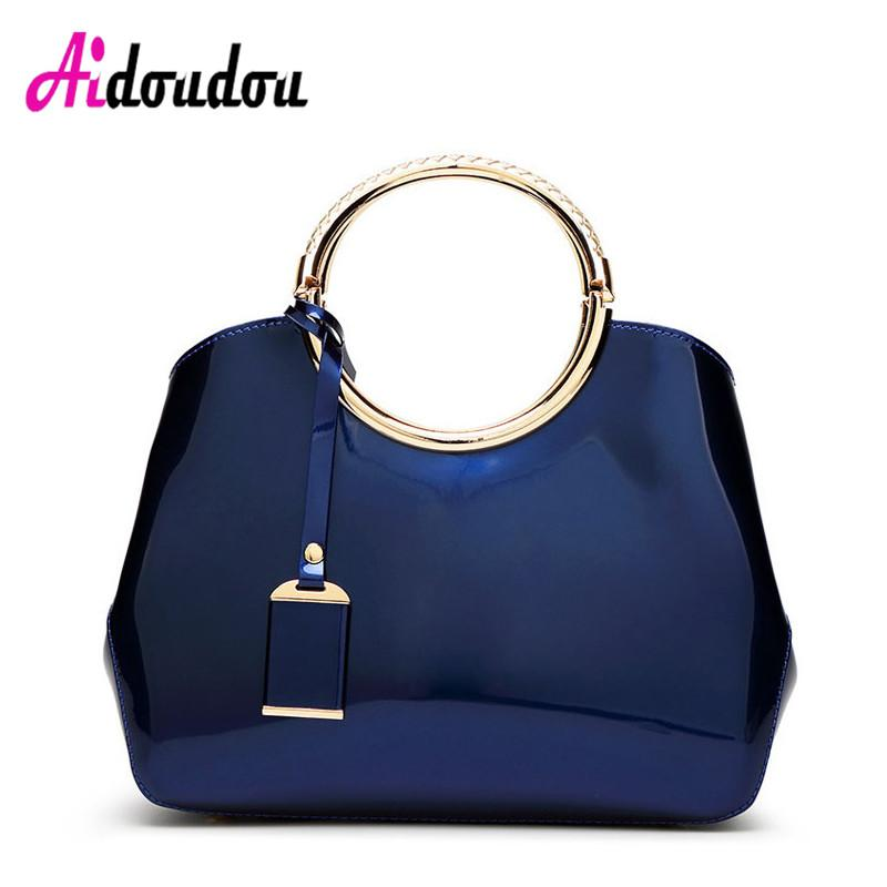 Luxury Jelly Ladies Hand Bag 2017 Designer Totes Borse da donna in pelle verniciata Classic Circle Ring Messenger Bags Large J1808WM