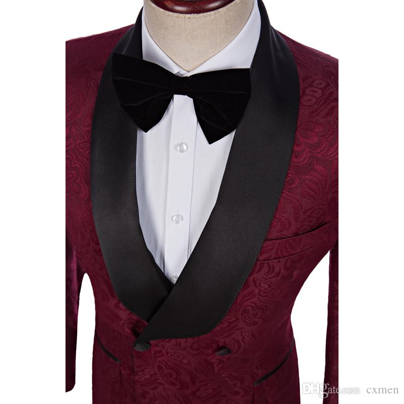 Burgundy Printed Men Suit for Wedding Bllack Shawl Lapel Latest Designs Groom Tuxedos Best Man Blazers 2 Pieces Jacket Pants Double Breasted