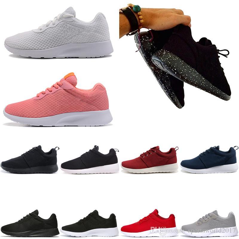 Nike Air Roshe run one Tanjun Fahion Tanjun Rushe London Diseñador Olímpico Correr Zapatos para Hombres Rose triple Negro blanco rojo bueno nuevo Zapatos Ocasionales Respirables envío de la gota