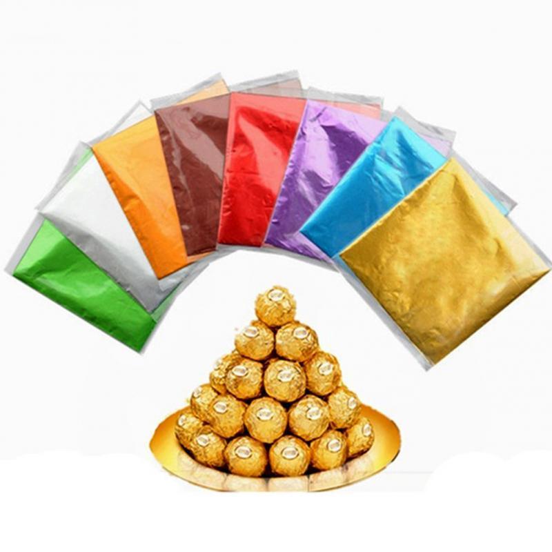 Toptan Krep Kağıt Levhalar Şeker Şeker Çikolata Tatlılar Konfeksiyon Kare Folyo Sarıcı Paket Noel Ağacı Hediyeler Paketi
