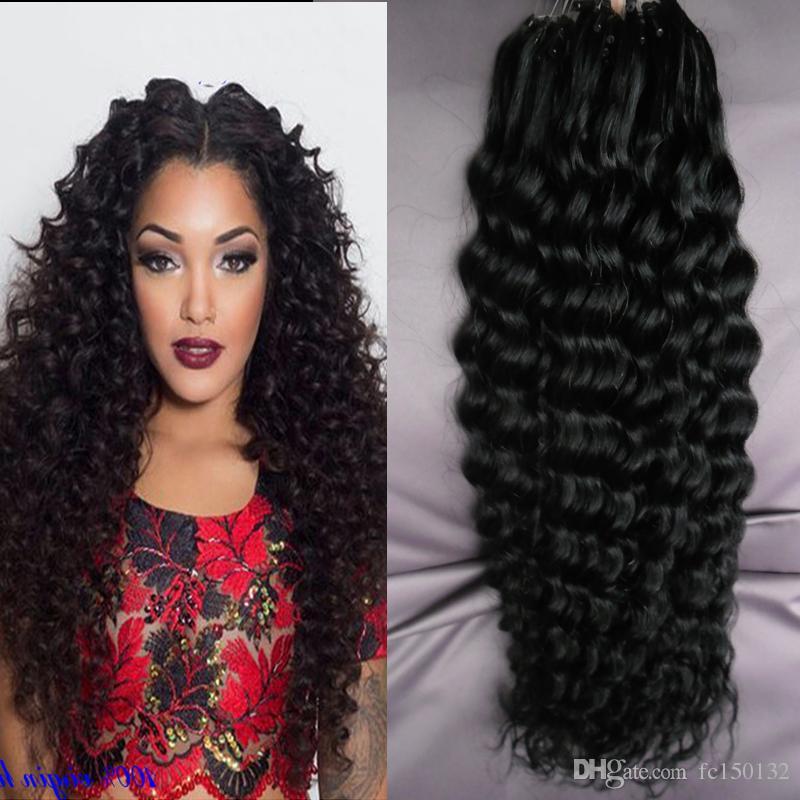Глубокий курчавый 100 граммов на пакет Micro Bead Link Наращивание человеческих волос 1g / strand Micro Loop Ring Расширения волос Remy Набор для наращивания волос