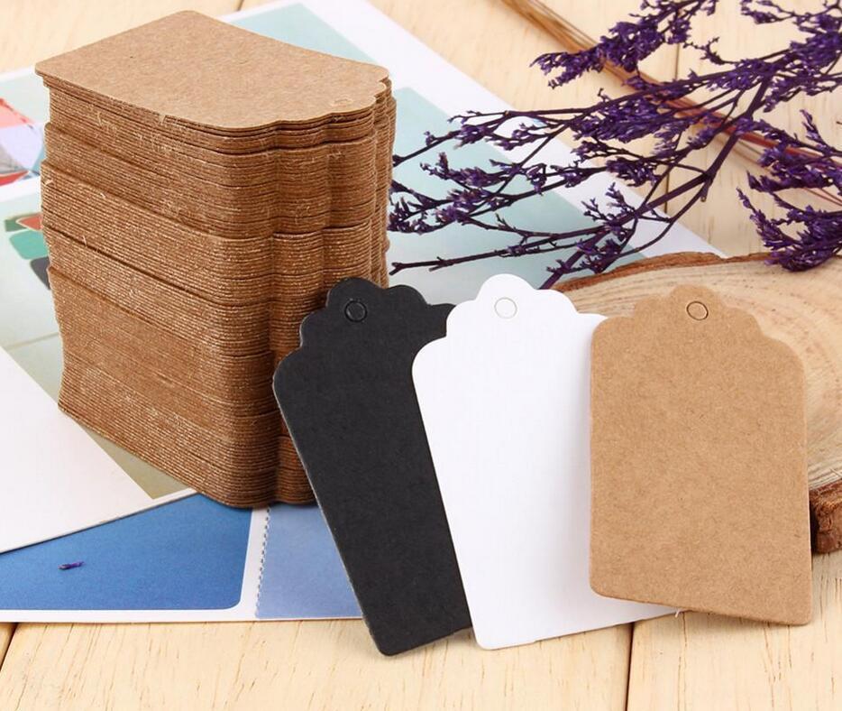 100 개 / 대 포장 라벨 브라운 / 블랙 / 화이트 크래프트 종이 태그 -DIY 라벨 웨딩 선물 장식 태그 5 * 3 센치 메터