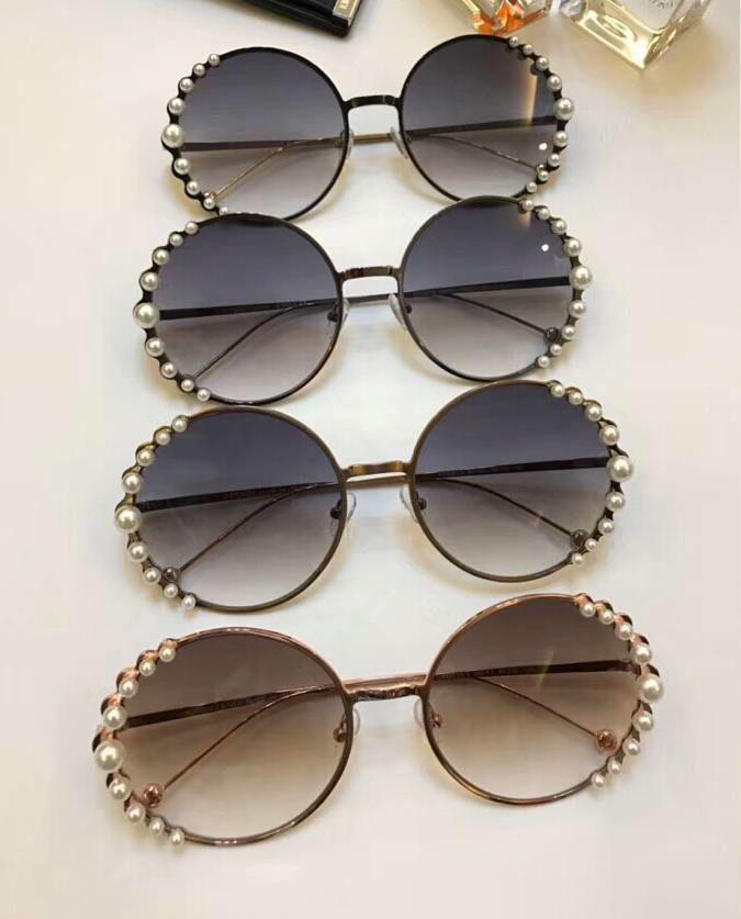 Kadınlar Altın / gri gölgeli Yuvarlak Güneş Gözlüğü Gözlük İnci Lüks Tasarımcı güneş gözlüğü Göz giyim ile Yeni Kutusu