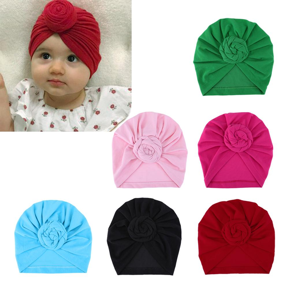 2018 Infant Newborn Kids Baby Hats Turbans Caps Lovely Children Headwear Wrinkle solid Caps Toddler cap Accessories with flower