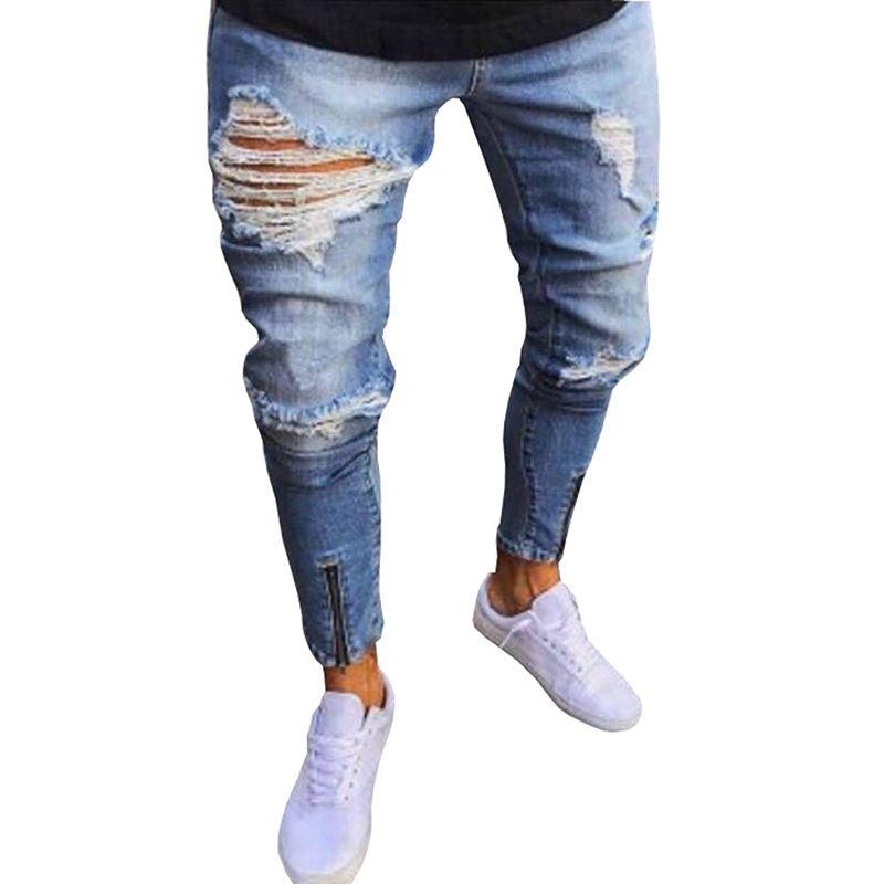 Men/'s Holes Nostalgic jeans Worn off jeans Casual Denim Pants Trousers
