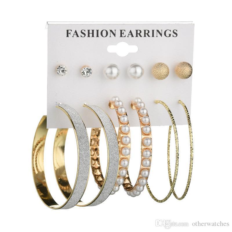 Мода преувеличены Перл кольца 6 пар серьги