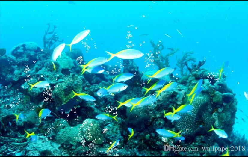 Fisch-Wassermusterwellenbadboden-Fliesenbeschaffenheits-Malerei-Tapeten des Ozeans tropische