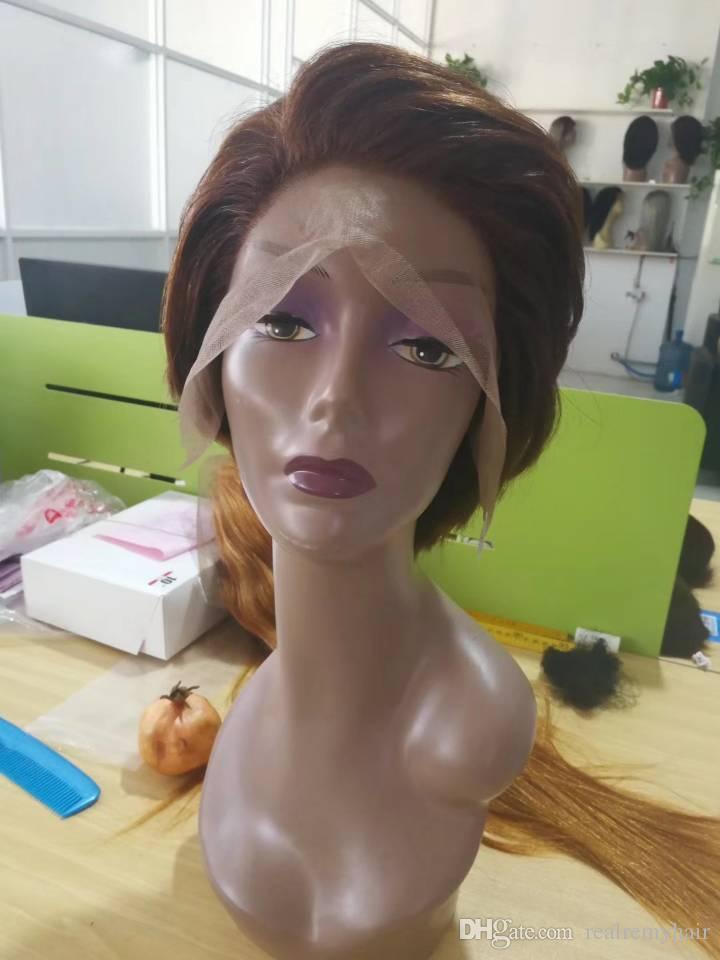 Pelucas de pelo humano recto frente del cordón Pelucas cortas del corte del duendecillo barato con pelo del bebé Pelucas de estilo peruano africano del corte de pelo para las mujeres negras