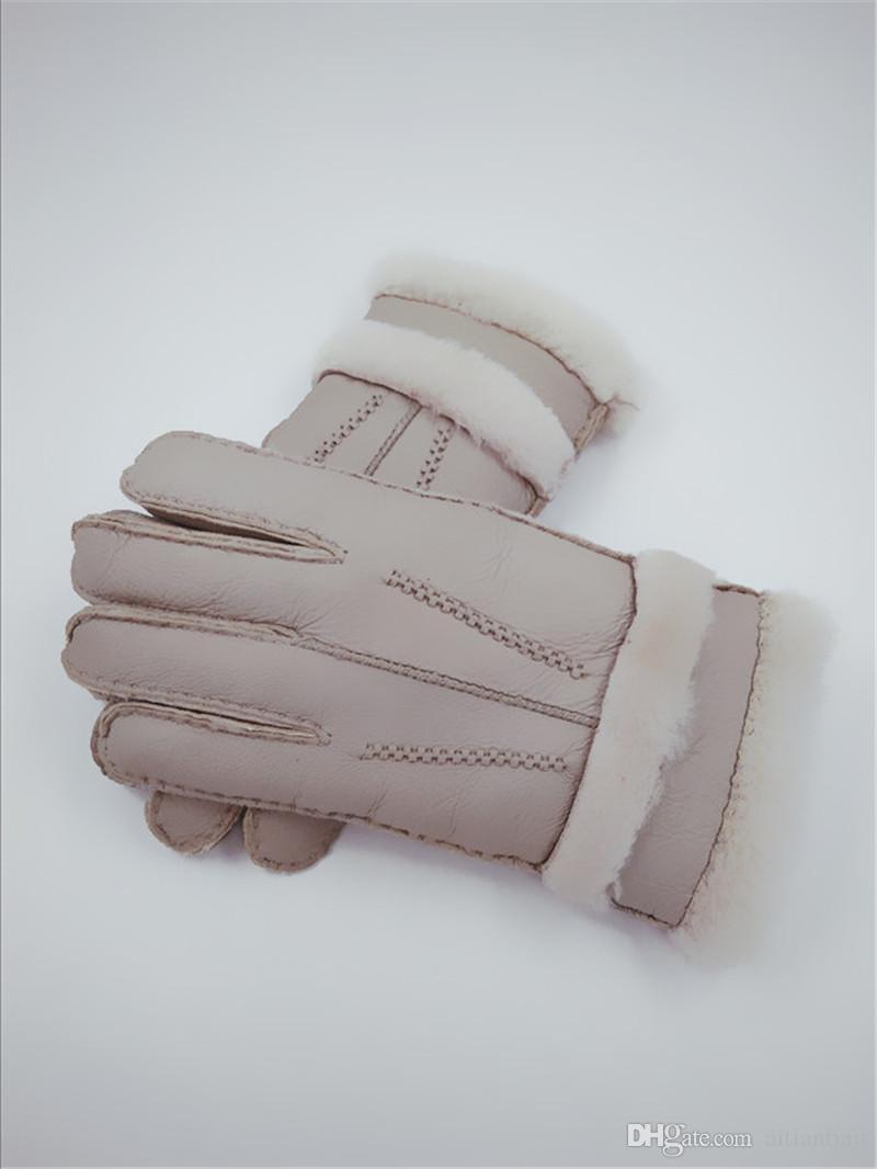 Ücretsiz kargo- 2018 yeni erkek kış rahat sıcak deri eldiven saf 100% yün eldiven erkek eldiven
